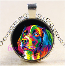 Colorful Golden Retriever Cabochon Glass Tibet Silver Pendant Necklace#K68