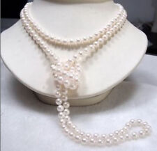"Long 65"" 7-8mm Genuine Natural White Akoya Cultured Pearl Necklace"