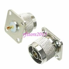1pce Connector N male plug 4-holes Flange solder Panel mount RF COAXIAL Straight