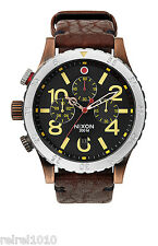 Nixon THE 48-20 CHRONO LEATHER Antique Copper/Brown Men's Watch A363 1625