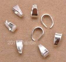 50pcs silver plated Pendant Pinch Clip Clasp Bail Connector Jewelry Findings 8mm