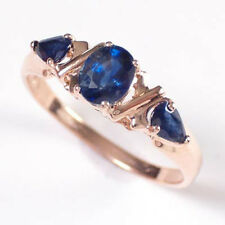 14k Solid Pink Gold Three Stone Sapphire Ring 1.35ct. STYLE # R411