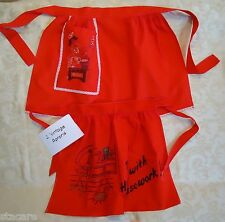 2 Vintage HALF Aprons - RED COTTON HECK WITH HOUSEWORK PRINT