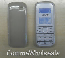 Grey/Translucent Protective Silicone Skin Gel Case for Nokia C1-02  -  NEW