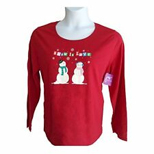 NWTJMS Just my Size Red Christmas Snowman Holidays Shirt Top Blouse Plus Size 2X