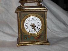 ANTIQUE JAPY FRERES BRASS HANDPAINTED TIN PANELS CARRIAGE CLOCK WORKING C1890- 1
