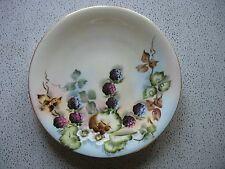 "Vtg Hand Painted Limoges France  Plate 8 5/8"" Sgnd H Reynolds Blackberries Fruit"