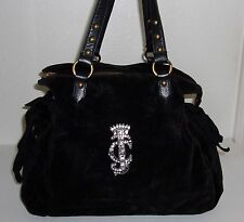 Juicy Couture Dark Brown Velour & Black Leather Rhinestone JC Purse Handbag Bag
