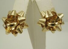 "Joan Rivers Bow PIERCED Earrings  1/2""  GOLDTONE"