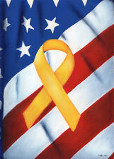#112 LARGE SUPPORT OUR TROOPS YELLOPS RIBBON AMERICAN  HOUSE FLAG 28X40 BANNER