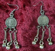 "Ethnic Tribal Banjara Dangle Earring Belly Dancer Rare 3"" Long Coin Eve-Party"