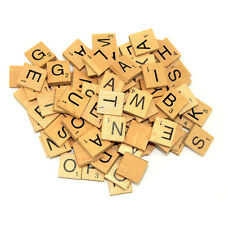 100 WOODEN SCRABBLE TILES BLACK SCRABBLE LETTERS & NUMBERS UK SELL