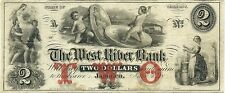 1860 WEST RIVER BANK ~ JAMAICA, VERMONT ~ $2 CURRENCY NOTE ~ SUPER COIN VIGNETTE