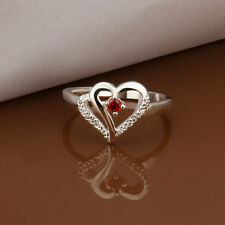 Lovely 925Sterling Silver Red Zircon Double Heart Women Ring Size 8 RY274 +Box