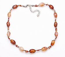 LOVELY 3-TONE BROWN BEADED NECKLACE FEMININE DESIGN ECO-FRIENDLY STYLE (ZX32)