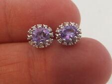 Fine amethyst diamond 9ct gold cluster earrings 9k 375