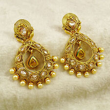 Traditional Bollywood Goldtone Indian Dangle Earring Set Women Wedding Jewelry