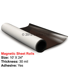 Flexible Rubber Magnetic Sheet Rolls 10ft x 24in 30 Mil with  Adhesive #MA10X24#