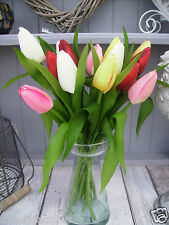 Bunch of Mixed Tulips, Real Touch Leaves Artificial Silk Flowers 12 Stems.