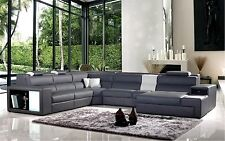 Polaris Contemporary Grey Bonded Leather Sectional Sofa W/ Lights Free Shipping