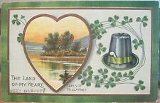 St Patrick's Day Postcard KILLARNEY LAND OF MY HEART Ireland Irish Hat Pipe 1912