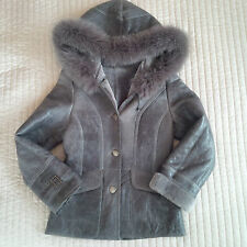 100% GENUINE SHEEPSKIN SHEARLING REAL FOX FUR COAT JACKET GREY SIZE S
