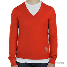 Alexander McQueen Red Pure Cashmere Skull V-Neck Sweater Jumper Knitwear M IT48