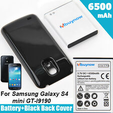 6500mAh Extended Battery FOR Samsung Galaxy S4 MINI GT-i9190 + Back Cover Black