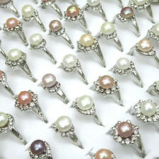 New 10pcs Natural Freshwater Pearls Fashion Womens Rings Wholesale Jewelry Lots