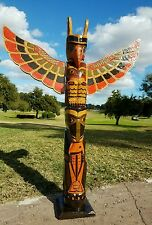 """NEW HANDCARVED 40"""" TALL EXQUISITE TOTEM POLE WITH DETACHABLE WINGS & FISH DESIGN"""
