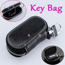 Zipper PU Leather Car Key Bag Case Holder Cover Black Pocket fit Audi BMW BENZ