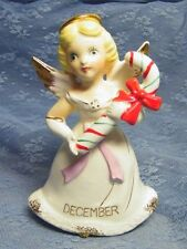 Vintage DECEMBER CHRISTMAS ANGEL FIGURINE with CANDY CANE Japan GOLD TRIM