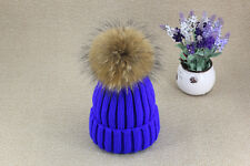 Genuine Real Raccoon Fur Pom Pom Knitted Hat Beanie Bobble Unisex Winter Warm