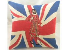 Union Jack Beefeater Flag Belgian Woven Tapestry Cushion - Evans Lichfield