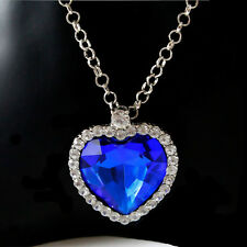 Elegant Heart Of The Ocean Crystal Pendant Necklace Girl Fashion Jewelry Finding