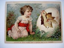 Vintage 1800's Easter Card w/ Young Girl & Large Chick Hatching From Egg *
