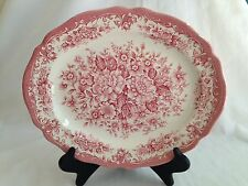 Meakin Royal Staffordshire Avondale Pink Red Transferware Washer Safe Platter