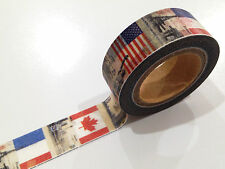 1PC NEW Japanese Washi Tape Craft Sticker, World Flag UK Canda USA France Travel