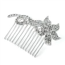 FLOWER FLORAL DESIGN DIAMANTE CRYSTAL SLIDE HAIR COMB GRIP WEDDING BRIDESMAID