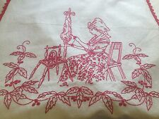 "VINTAGE FRENCH ""Cache Torchons"" CURTAIN - REDWORK & RED LACE - Alsace"