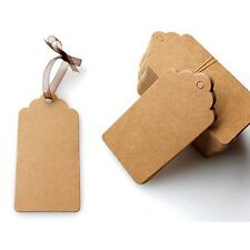 100Pcs Blank Brown Kraft Paper Hang Tags Wedding Favor Label Gift Cards