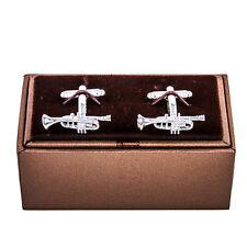 Trumpet Cufflinks Bugle Horn Music Band Wedding Fancy Gift Box Free Ship USA