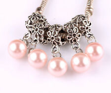 5pcs Tibetan silver pearl pendant spacer beads fit Charm European Bracelet #B515