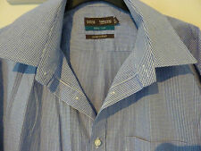 "Marks and Spencer tailored blue checked gingham cotton shirt. 16.5"", 42cm"