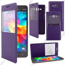 Housse Coque Etui S View PU Cuir Violet Galaxy Grand Prime Value Edition G531F