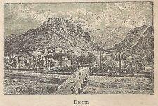 A0701 Digne-les-Bains - Francia - Veduta - Stampa Antica del 1911 - Xilografia