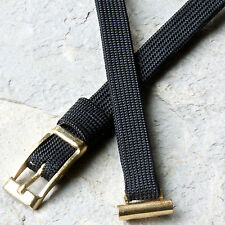 Black silk & gold vintage ladies watch band you pick 8mm 9mm 10mm or 11mm ends