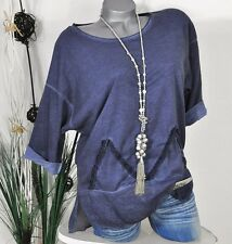 NEU VINTAGE LOOK SWEAT SHIRT BLUSE APPLIKATION WASHED BLAU 38 40 42