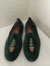 STUBBS & WOOTTON Green Velvet Topiary Loafters Slippers Men Sz 9