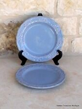 Home Hearthstone Blue 2 Salad Plates Hand-Painted Stoneware Holly Berries